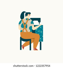 Women seamstress sews clothes with  sewing machine illustration in vector. Small business and hobby theme.