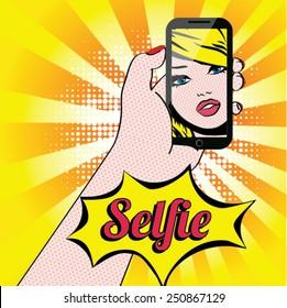 Women Selfie Pop Art Vector Illustration