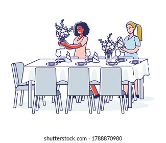 Women serving table preparing elegant flowers for dinner or luxury banquet. Wedding, anniversary or celebration table preparation concept. Linear vector illustration