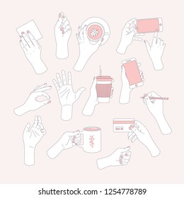 Women set of hands. Hands holding smartphone, card, tube, coffee cup, tea cup, credit card and pencil. Feminine illustration. Vector illustration