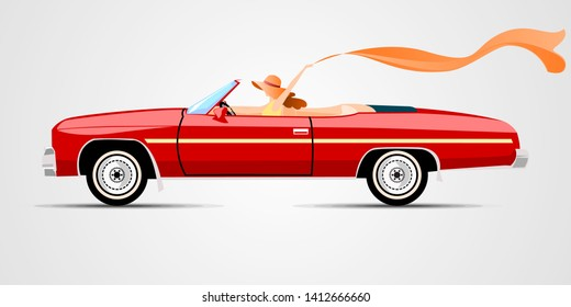 Women With Shawl In Convertible Red Car Wallpaper Background Vector Illustration