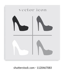 Women shoe high heel flat black and white vector icon. Footwear illustration.