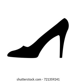 Women shoe sign. Image of elegant silhouette. Beautiful black icon isolated on white background. Sexy symbol. Logo for fashion.Stock vector illustration