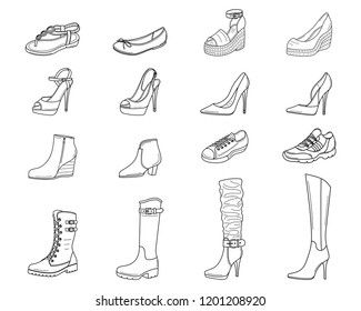 Women shoes collection. Various types of female shoes boots, stilettos, wedgies, sandals, sneakers, flats, vector sketch illustration, isolated on white background
