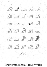 Women shoes different types set drawing in vintage style on white background