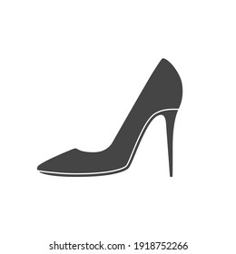 Women shoes icon. Lady high heels shoe outline. Vector illustration isolated on white.