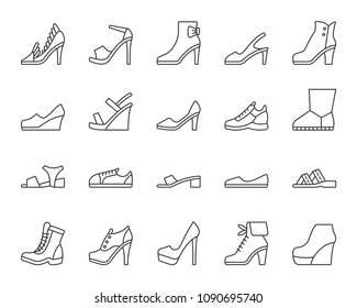 Women Shoes thin line icons set. Outline web sign kit of footwear. Shoes linear icon collection includes sandals, platforms, mules. Simple black symbol. Vector Illustration isolated on white