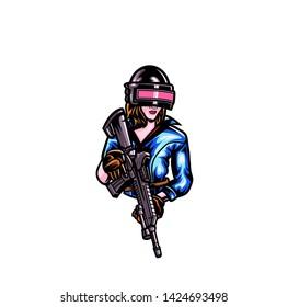 women shooter logo for esport team