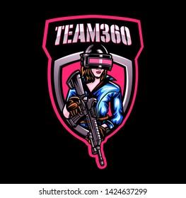 women shooter mascot logo for sport and esport team