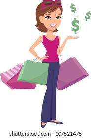 Women Shopping Cartoon Illustration
