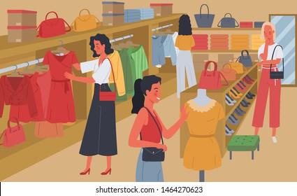 Women shopping. Women choose to buy clothes, handbags and high heels in the store. Vector illustration in a flat style
