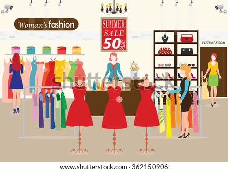 2299c2fea6f Women Shopping Clothing Store Dummies Show Stock Vector (Royalty ...