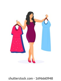 Women shopping in a clothing store. Young beautiful girl with dresses in hands, choosing clothes and accessoires in store, garment supermarket. Purchases, modern fashion, style. Vector illustration