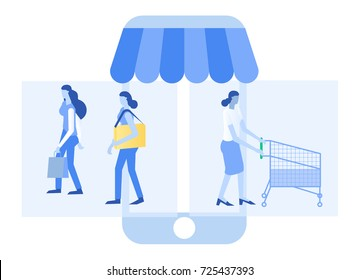 Women are shopping on their mobile phone.E-commerce business, sale and consumerism concept.Shopping on-line concept.
