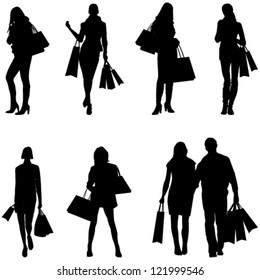 Women Shopping Silhouettes - vector eps10