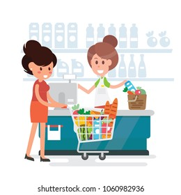 Women shopping in supermarket - Flat style vector