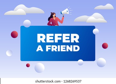Women shout on megaphone with Refer a friend word concept vector illustration with character, landing page, template, ui, web, mobile app, poster, banner, flyer. Characters design