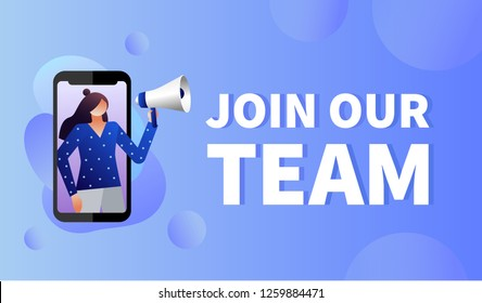 Women shouting on megaphone with join our team word vector illustration concept, can use for, landing page, template, ui, web, mobile app, poster, banner, flyer