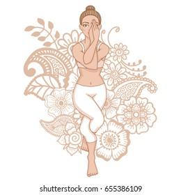 Women silhouette. Eagle yoga pose. Garudasana Vector illustration