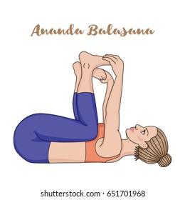 Women silhouette. Happy baby, dead bug yoga pose. Ananda Balasana. Vector illustration