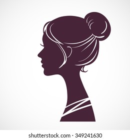 Women silhouette head with beautiful stylized hairstyle