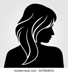 Women silhouette isolated on white background. Vector illustration.