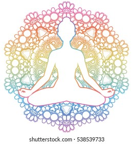 Women silhouette. Mandala round background. Yoga lotus pose. Padmasana. Vector illustration