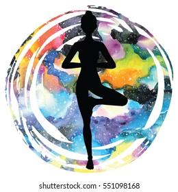 Women silhouette on galaxy astral background. Tree yoga pose.Vrikshasana. Vector illustration