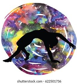 Women silhouette on galaxy astral background. Wild Thing Yoga Pose. Camatkarasana Vector illustration
