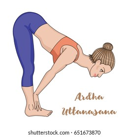 Women silhouette. Standing half forward bend yoga pose. Ardha uttanasana. Vector illustration