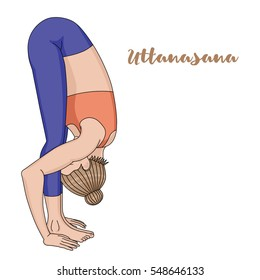 Women silhouette. Uttanasana, forward fold yoga pose. Vector illustration.