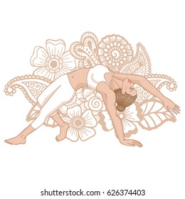 Women silhouette. Wild Thing Yoga Pose. Camatkarasana Vector illustration