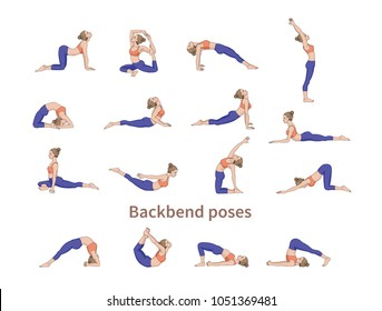 Women silhouettes. Collection of yoga poses. Asana set. Vector illustration. Backbend poses