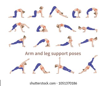 Women silhouettes. Collection of yoga poses. Asana set. Vector illustration. Arm and leg support poses