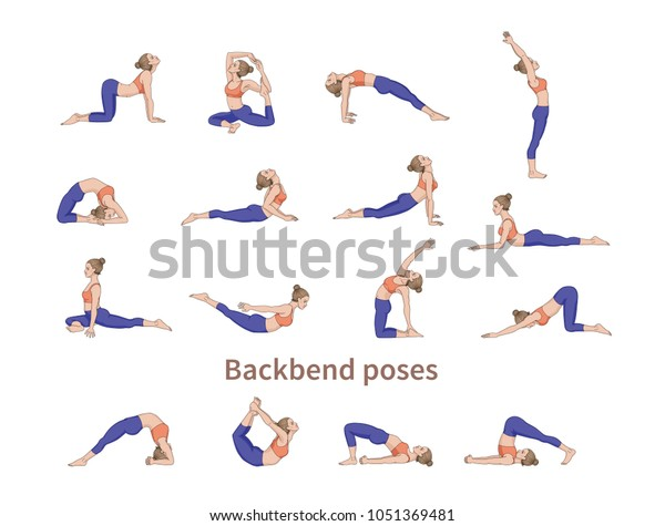 Women Silhouettes Collection Yoga Poses Asana Stock Vector Royalty Free 1051369481