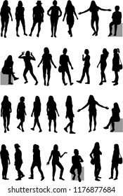 Women silhouettes. Large collection.