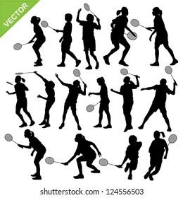 Women silhouettes play Badminton vector