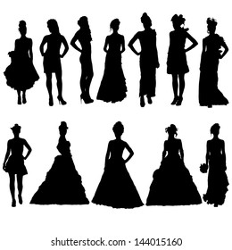 Women silhouettes in various dresses. Vector illustration