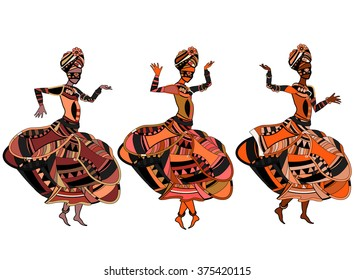 women sing in ethnic style with a white background