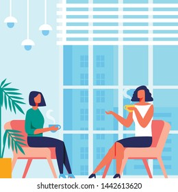 Women Sit in Chair near Panoramic Window Overlooking City. Communication and Drink Tea. Psychology Training for Women. Vector Illustration. Room with Blue Interior. Discussion Coach and Client.