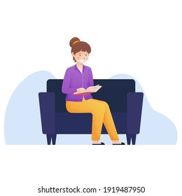 women sit on sofa with read a book