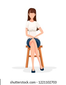 Women sit on wooden chair. No face character design. Girl sit with crossed legs in formal wear. Flat vector illustration isolated on white background.
