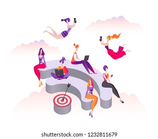 Women sit and stand on the 3d podium in the form of wi-fi. Public free wifi hotspot zone. Modern flat vector illustration isolated on white background