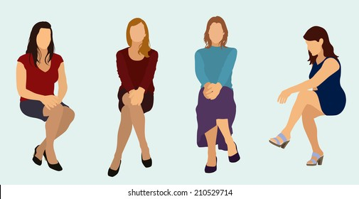 Women Sitting Down while wearing Dresses or Skirts