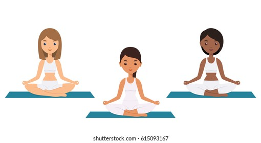 Women sitting in lotus yoga pose. Flat people icon. Sukhasana. Yoga concept. Female characters. Vector illustration.