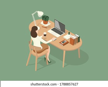 women sitting and sipping coffee while working on the desk. Isometric Illustration about working on the table.