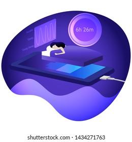 women is sleeping on the smartphone that is charged and sleep calculator and sleep cycle background