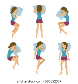 Women sleeping positions vector illustration. Woman sleep poses in bed. Young girl rest in different poses