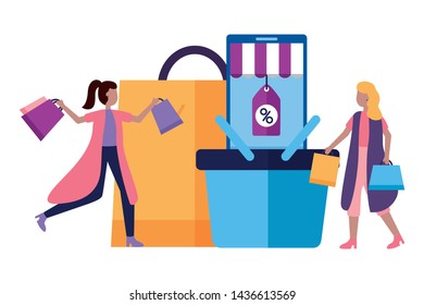 women smartphone basket and shopping bags commerce vector illustration
