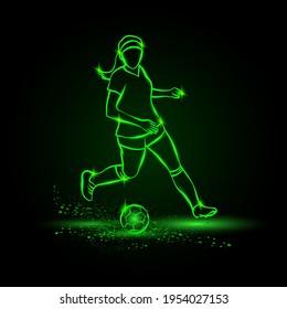 Women soccer player running with ball. Vector Football sport green neon illustration.